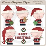 Christmas Piggies - Clip Art - *DGD Exclusive*
