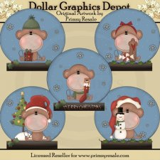 Snow Globes - Christmas Monkeys - Clip Art