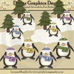 Winter Penguins 1 - Clip Art