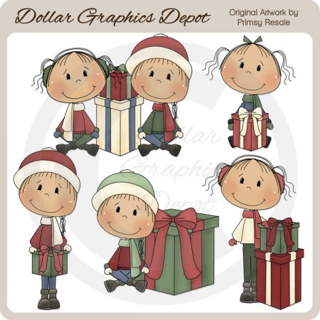 Kids 'n' Christmas Gifts - Clip Art