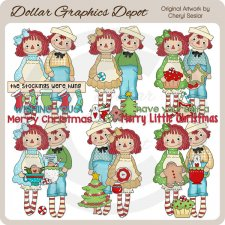 Raggedies - Merry Christmas - Clip Art