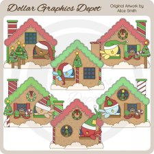 Christmas Ginger Birdhouses - Clip Art