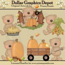 Fall Bears 1 - Clip Art