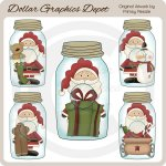 Clear Jars - Santa - Clip Art