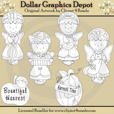 Harvest Time Angels - Digital Stamps - *DGD Exclusive*