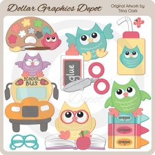 Back to School Owls 1 - Clip Art