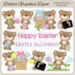 Fluffy Easter Bears - Clip Art - *DGD Exclusive*