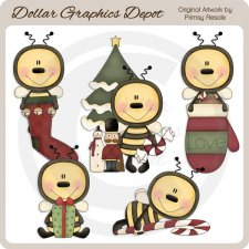 Christmas Bees - Clip Art