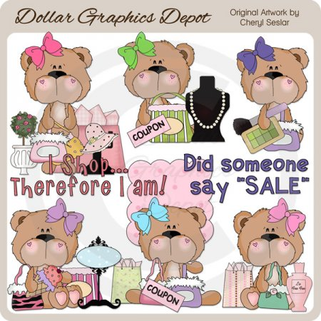 Babs Bear Loves A Sale - Clip Art
