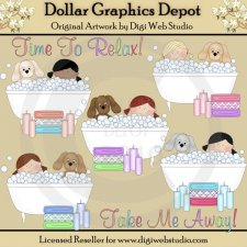 Bathtub Tots and Pups - Clip Art