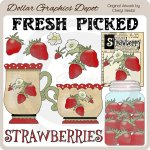 Fresh Picked Strawberries - Clip Art