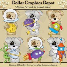 Pups In Space - Clip Art