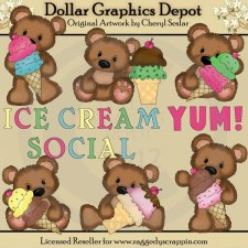 Cuddle Bears - Ice Cream Social - Clip Art