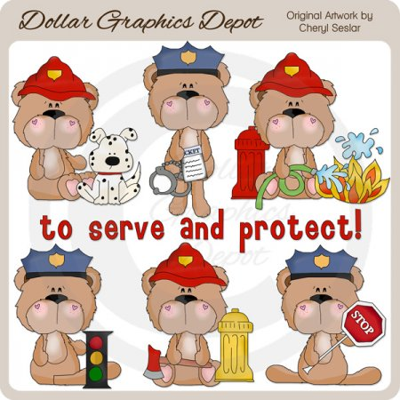 BoBo Bear To Serve and Protect - Clip Art
