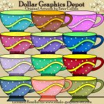 Colorful Teacups - Clip Art