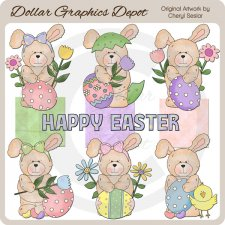 Raggedy Rabbit - Easter - Clip Art