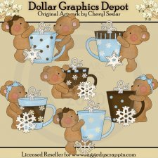 Boo Boo Bears - Cocoa and Snowflakes - Clip Art