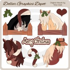Christmas Ponies - Clip Art