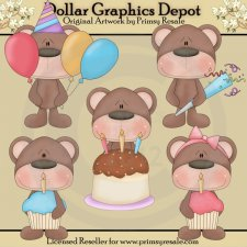 Birthday Bears - Clip Art