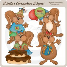 Birthday Squirrels - Clip Art