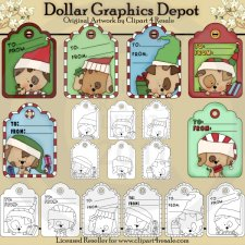 Christmas Puppy Tags - Combo Set
