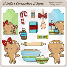 Baking Gingerbread - Clip Art