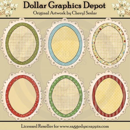 Oval Doodle Frames - Christmas