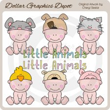 Animal Hat Babies 1 - Clip Art - *DCS Exclusive*