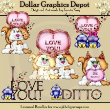 Valentine Cats and Birds - Clip Art