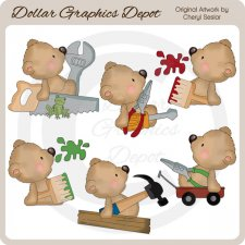 Sampson Bear - Daddy's Little Helper - Clip Art
