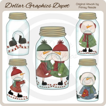 Clear Jars - Snowman - Clip Art