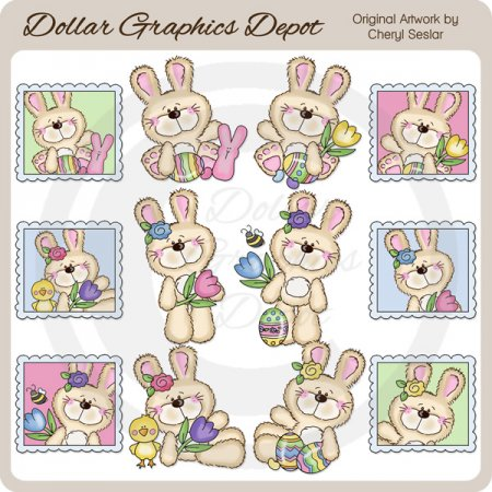 Fluffy Bunny - Easter Wishes - Clip Art