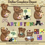 Cute Little Artist Bears - Clip Art - *DGD Exclusive*