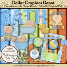 Bath Time for Baby Boy - Scrap Kit
