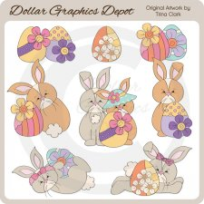 Easter Bunnies 4 - Clip Art