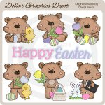 Dotty Bear - Easter Time - Clip Art