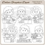 Lou Lou and Pals - Gardening - Digital Stamps