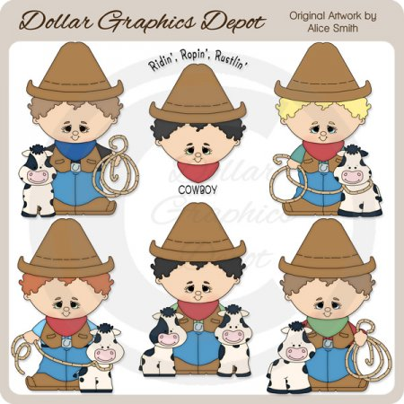 Roping Cowboys - Clip Art