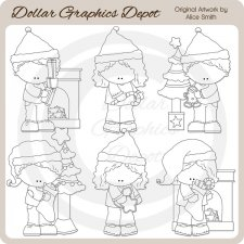 Christmas Morning Kids 1- Digital Stamps - *DCS Exclusive*