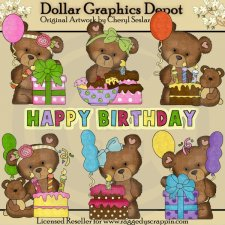 Cloey Bear's Birthday Party - Clip Art