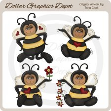 Baby Bumble Bees - Clip Art