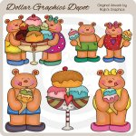 Beach Bears and Ice Cream - Clip Art
