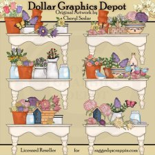 Beautiful Flower Shelves - Clip Art