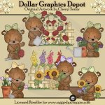 Bailey Bear's Flower Garden - Clip Art