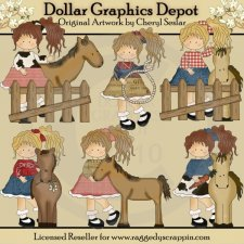 Pretty Cowgirls - Clip Art - *DGD Exclusive*