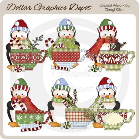 Penguin Cuties - Christmas Tea - Clip Art