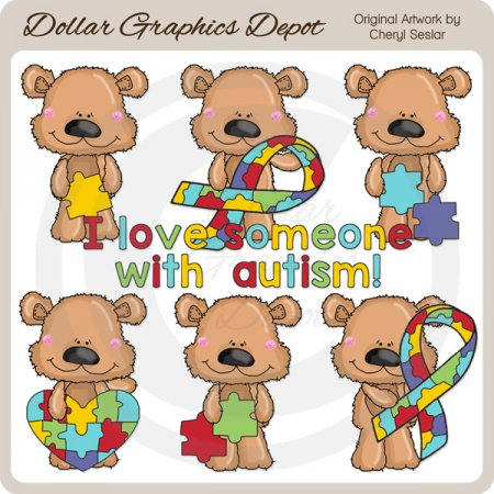 Scruffy Bear - Autism - Clip Art