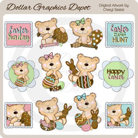 Happy Bear - Chocolate Easter - Clip Art