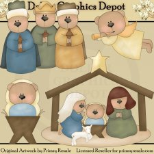 Nativity Bears - Clip Art