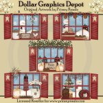Christmas Windows -Clip Art